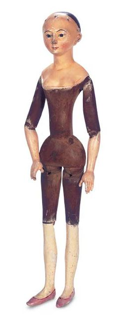 """Late 18th-Century Grodnertal Wooden Doll with Sculpted Bodice in Luxury Size 22"""" (56 cm.) All-wooden doll has sculpted head with heart-shape..."""