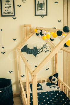 Batman bed, Twin size children bed, wood bed house, house bed, Montessori bed, Newborn bed, Children crib, bedroom toddler bed, unique bed, child room