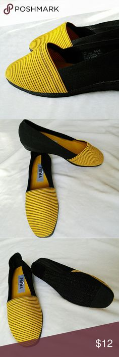 "New Black/Yellow stripe canvas wedge slip on Brand new canvas slip on wedge. No box. -Size 6.5 -1.5"" in heel -Rubber heel Shoes Wedges"