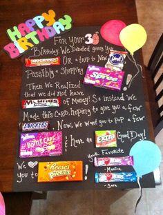 birthday candy bar poster for birthday gift Homemade Birthday Gifts, Birthday Gifts For Best Friend, Birthday Crafts, Friend Birthday, Grandpa Birthday, 30th Birthday Gifts, Brother Birthday, Happy Birthday, Funny Birthday