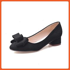 BalaMasa Ladies Bows Chunky Heels Pointed-Toe Black Suede Pumps-Shoes - 7.5  B