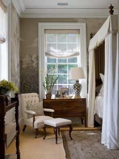 This is a gorgeous bedroom...wallpaper is remarkable.