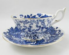 Individual Cornflower Blue Vintage 8oz teacups with White Interior