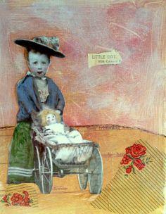 Little Dot sweet child vintage inspired painting by MaudstarrArt aka Heather Murray Mixed Media Artists, Mixed Media Painting, Old Dolls, Canadian Artists, Vintage Ephemera, Face Art, Altered Art, Art For Sale, Photo Art
