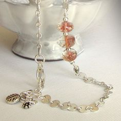 Oregon+Sunstone+and+Chain+Bracelet++Sterling+by+jQjewelrydesigns,+$47.00