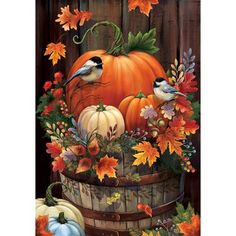 Custom Decor Pumpkin Barrel 2-Sided Polyester 1'6 x 1 ft. Garden Flag