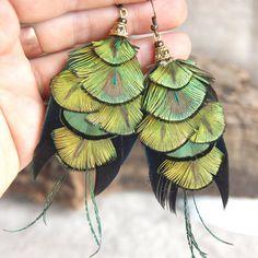 Green Feather Earrings Golden Green Feather Earrings by Nastasy