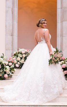 6268  Lace and Tulle Plus Size Ball Gown Wedding Dress by Stella York