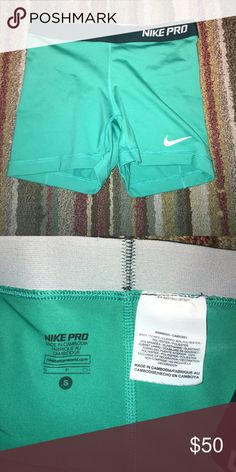 Nike Pro turquoise shorts 💚✨ Super cute and never worn workout shorts. They've been washed once and are very comfy! Nike Shorts