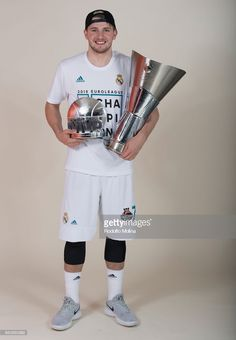 Luka Doncic, #7 of Real Madrid poses with Chamipons Trophy and MVP of the final Trophy 2018 Turkish Airlines EuroLeague F4 Champion Photo Session with Trophy at Stark Arena on May 20, 2018 in Belgrade, Serbia.