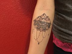 Mountains and mandala tattoo #mountains #mandala #forearmtattoo #smokeybanana