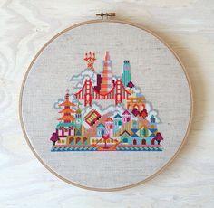 Pretty Little San Francisco - Modern Cross stitch embroidery pattern by Satsuma Street