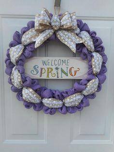 Spring burlap wreath Welcome Spring burlap wreath Spring Tulle Wreath, Diy Wreath, Door Wreaths, Burlap Wreaths, Wreath Making, Wreath Ideas, Welcome Spring, Spring Sign, Spring Door