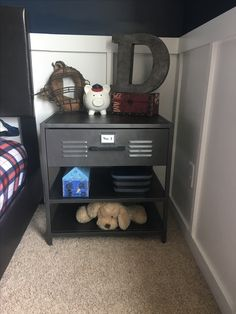 This locker night stand is the perfect addition to this vintage sports theme boy room. Boys Football Room, Football Bedroom, Boy Sports Bedroom, Kids Bedroom, Kids Sports Bedroom, Plywood Furniture, Design Furniture, Bedroom Furniture, Boys Room Decor