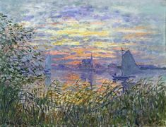 I adore art (esp. paintings) and one of my favorite paintings is Claude Monet. This is a painting I really love :) Sunset on the Siene - Claude Monet Claude Monet, Camille Pissarro, Edgar Degas, Post Impressionism, Impressionist Paintings, Monet Paintings, Landscape Paintings, Wassily Kandinsky, Vincent Van Gogh
