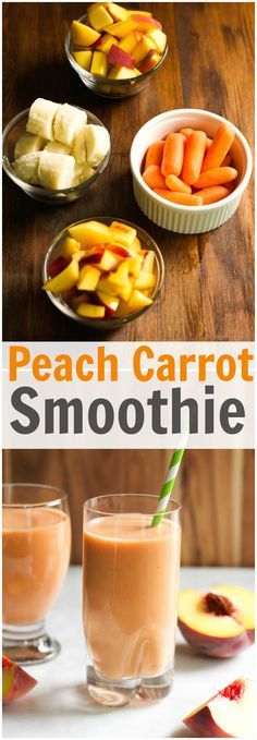 This Peach Carrot Smoothie is dairy-free, delicious and has only 4 ingredients: banana, peach, coconut water and greek yogurt. Enjoy! #smoothie #breakfast