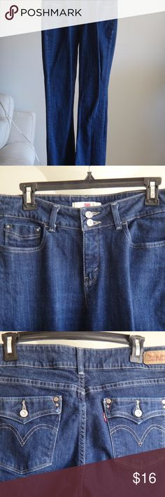 "Levis 526 Slender Boot Stretch Jeans Mid Rise Women's Jeans Levis 526 slender boot cut, stretch, dark blue, mid rise, double buttons, back pockets,  zipper fly, 99% cotton/1% spandex. Size 10 M.  W 30/ L 32.  Very good condition.  Measurements: waist 16.5""; rise 10""; inseam 31"". Levis 526 Jeans Boot Cut"
