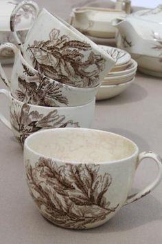 antique Wedgwood seaweed brown transferware china, aesthetic vintage tea set dishes