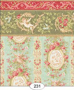 "Dollhouse Wallpaper "" Victoriana Blue """