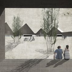School in Riaz / TEd'A arquitectes render / paper texture / collage