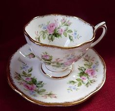 metal footed tea cups | Royal Albert Vintage Demi Moss Rose Footed Cup & Saucer