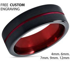 $299.77 Tungsten Ring Mens Black Red Wedding Band Ring by BellyssaJewelry (Request custom order, gold inside)