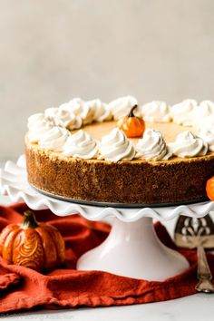 This no-bake pumpkin cheesecake is smooth and creamy with an ultra spiced flavor. This fall dessert tastes like pumpkin mousse and it's all sitting in a delicious gingersnap cookie crust. Recipe on sallysbakingaddiction.com