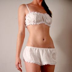 linen lingerie set ready to ship size by sandmaidensleepwear