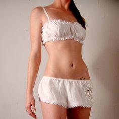 womens linen bralette  CHERISH lingerie by sandmaidensleepwear