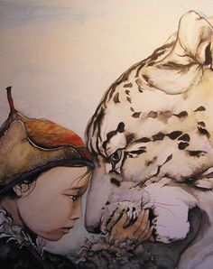 ctrlzzz: The Snow Leopard by Jackie Morris Most Famous Artists, His Dark Materials, Children's Book Illustration, Animal Paintings, Beautiful Paintings, Cat Art, Fantasy Art, Drawings, Animal Medicine