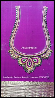 #Hand Embroidery Blouse designs by Angalakruthi boutique Bangalore Watsapp:8884347333 Bridal blouse desings by Angalakruthi boutique