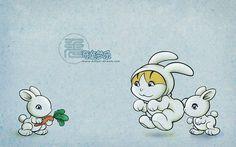 Kitten-Dream Cartoon Characters  - Rabbit - Cartoon Chinese Zodiac Animal Sign Wallpaper  1