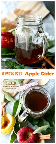 Spiked Apple Cider - A delicious, spicy and boozy mixture of apple juice, orange juice and rum | #applecider #apples #recipe #drinks