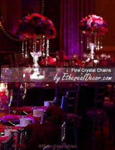Flowers, Reception, Pink, Centerpiece, Red, Purple, And, Crystals, Hanging, With