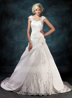Wedding Dresses - $256.49 - Ball-Gown Sweetheart Chapel Train Satin Tulle Wedding Dress With Ruffle Lace Beadwork Flower(s) (002000435) http://jjshouse.com/Ball-Gown-Sweetheart-Chapel-Train-Satin-Tulle-Wedding-Dress-With-Ruffle-Lace-Beadwork-Flower-S-002000435-g435