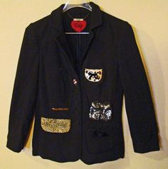 Women's Italian VDP Via Delle Perle Jacket Wool Sequins Animal Print BLING #VDPViaDellePerle #Blazer