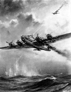 """This artwork (commissioned by the USAAF in 1943) depicts """"Sons of Fury"""", a B-17F Flying Fortress (41-24470) assigned to the 369thBS, 306th BG. Damaged by flak during the 03 January 1943 mission to the submarine pens at St Nazaire, France, the bomber was forced from formation. Aboard the bomber was Engineer/Top Turret Gunner T/Sgt Arizona T. Harris. A tail gunner from another 306th B-17 witnessed the following events. Four chutes were seen to exit the rear of the aircraft. Despite rough…"""