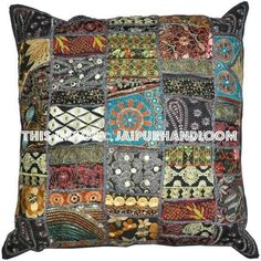 Black Embroidered Throw Pillows For Couch inches Extra Large Patchwork Floor Cushions Living Room Cushions for Sofa Indian Pillows – RSG venture - Living Rooms Living Room Cushions, Couch Cushions, Sofa Throw Pillows, Floor Cushions, Throw Pillow Covers, Living Rooms, Couch Sofa, Pillow Cases, Patchwork Pillow