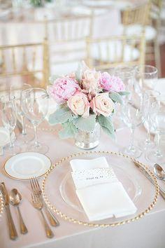 Classic St. Louis Wedding, Blush and White Centerpieces and Gold Menu | Brides.com