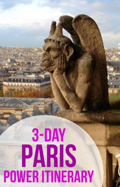 See the best of Paris, France in just three days. Itinerary includes the Eiffel Tower, Notre Dame, Versailles, Sainte Chappelle, the Louvre, Musee d'Orsay, Sacre Coeur, and the Arc de Triomphe.