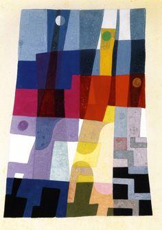 pintoras:  Sophie Taeuber-Arp (Swiss, 1889 - 1943): Composition on a Blue Background (1930) (via The Athenaeum)
