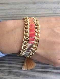 OOAK sunny rainbow bead loom bracelet with by bonkibizabracelets