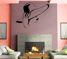 Wall Stickers Vinyl Decal Gorgeous Charming Woman In Hat Unique Gift Mural Wall Art, Wall Stickers Murals, Wall Art Decor, Vinyl Decals, Murals For Kids, Salon Style, Amazon, Hair Spa, Easy