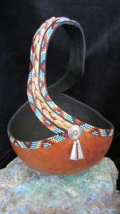 Beaded Swirl, beads are painted on this gourd!