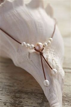 Fine Pearls and Leather jewelry by Designer Wendy Mignot Synergy Freshwater Necklace