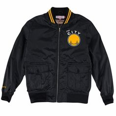 Golden State Warriors Mitchell & Ness 'The City' NBA Play Caller Woven Jacket - Black - Click to enlarge