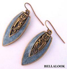 Vintage Signed Edgar Berebi Cat Aqua Color Enamel On Br Gold Tone Earrings Edgarberebi