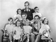 Joseph and Magda Goebbels and their six children. Goebbels ran propaganda for Hitler. When the Allies invaded Berlin at the end of the war, the Goebbels gave each of their children a shot of morphine, then places crushed cianide in their mouths. The oldest was 12, the youngest 4. (The man at the top of the pyramid was Magda's son by her first marriage, superimposed into the photo.)