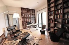 """EAMES CHAIR! By the window where you currently have the bookcase. Your loft screams """"herman miller completes me"""""""
