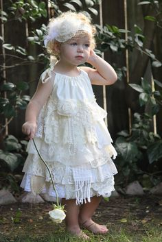 Lace Flower Girl Dress - Vintage Look - Shabby Chic Linens and Lace - Custom Order for sizes 12 month to girls 7 -  Adjustable Top